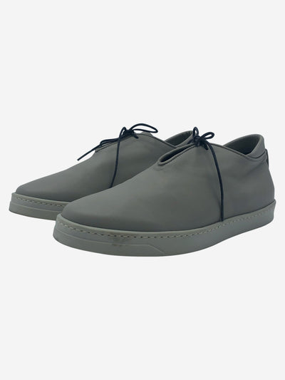 Grey leather lace up shoes - size EU 39