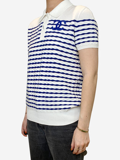 White and blue striped polo top with CC logo - size FR 36