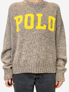 Beige and yellow flecked POLO sweater - size S