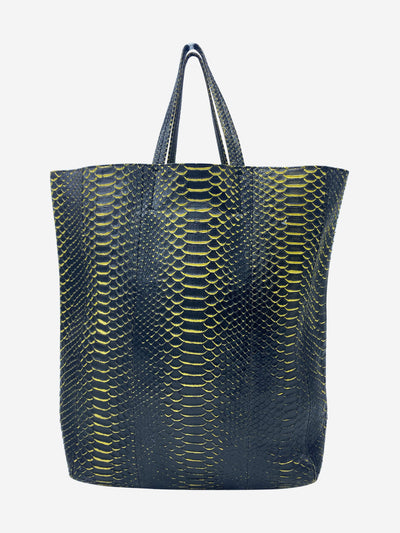 Vertical Cabas yellow & black python tote