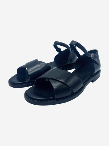 Black flat strap sandals - size EU 37