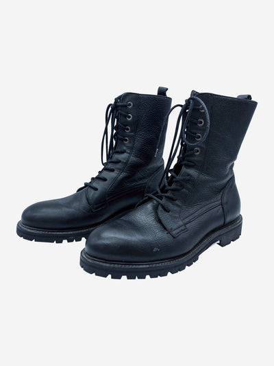 Black leather lace up combat boots - size EU 40