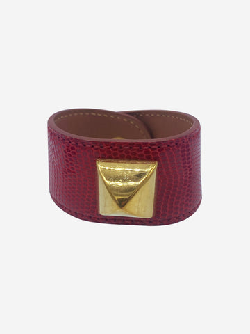 Red croc style bracelet with gold hardware stud