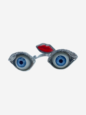 Silver, blue & red eyes & lips ring