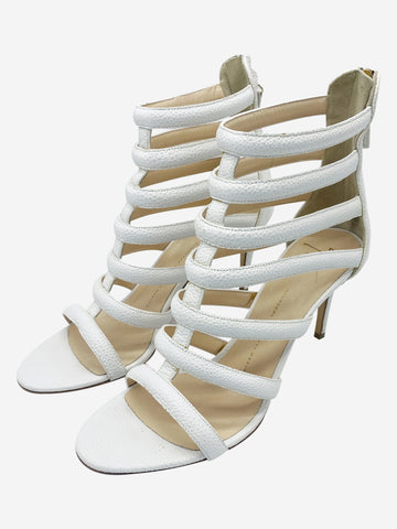 White leather scale print cage strap heels - size EU 40.5