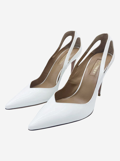 White gloss leather pointed heels  - size EU 38
