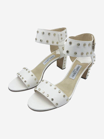 White studded block heel sandals - size EU 40.5