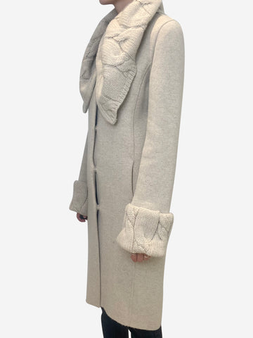 Beige cashmere chunky cardigan coat - size IT 42