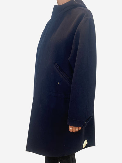 Navy wool hooded coat - size XS