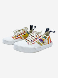 White and multicolour floral canvas trainers - size 4