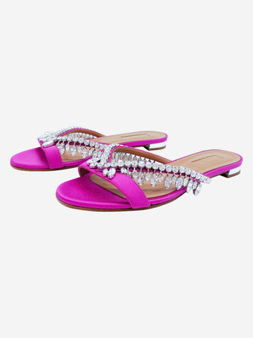 Gem Palace pink crystal-embellished satin sandals - size 4