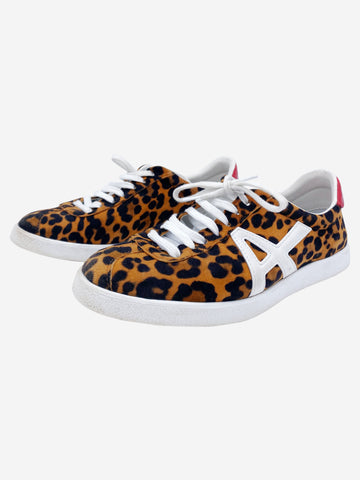 The A Jaguar animal print with white and red trainers - size 4.5