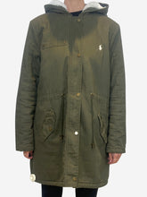 Load image into Gallery viewer, Khaki cotton parka with cream faux fur lining - size XL