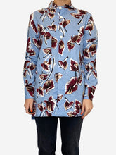 Load image into Gallery viewer, Blue and burgundy floral print cotton shirt - size IT 40