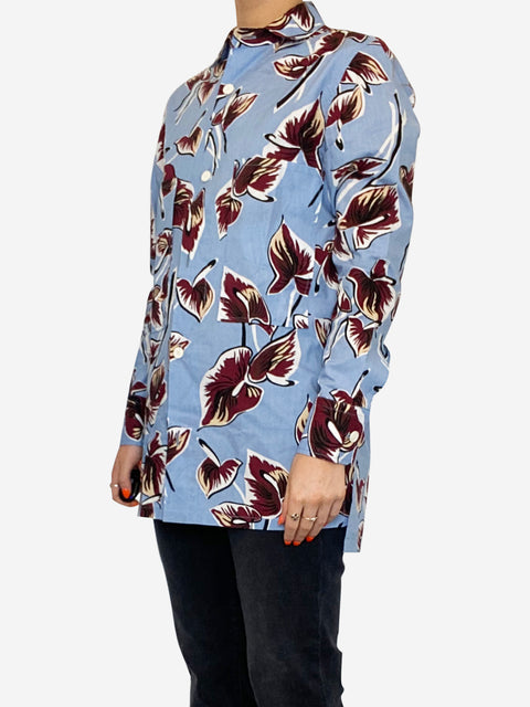 Blue and burgundy floral print cotton shirt - size 8