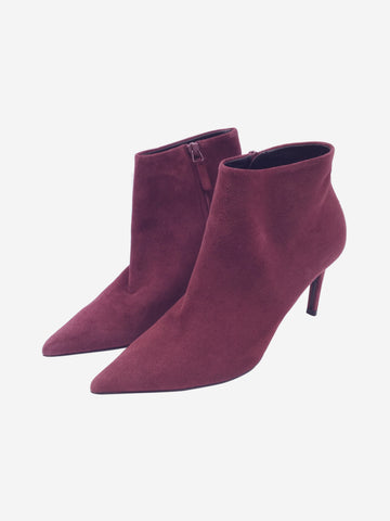 Balenciaga Burgundy Suede Heeled Ankle Boots Size 4.5 Approx RRP £885