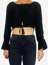 Load image into Gallery viewer, Cali black off the shoulder silk open front crop top - size S