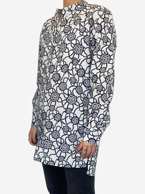 White and blue floral collarless tunic shirt - size 8