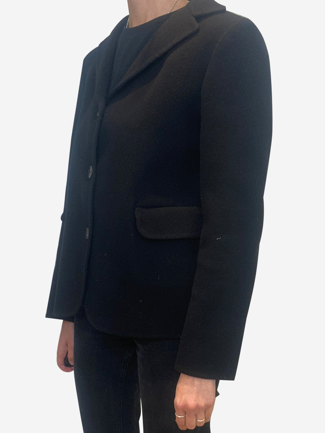 Black long sleeve cashmere jacket - size 8