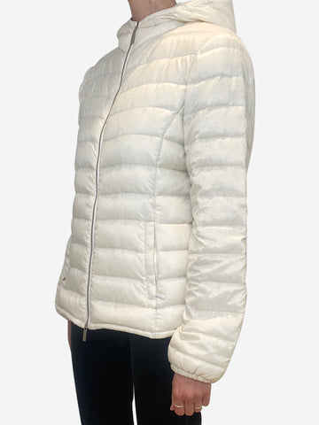 Cream hooded quilted puffer jacket - size UK 10