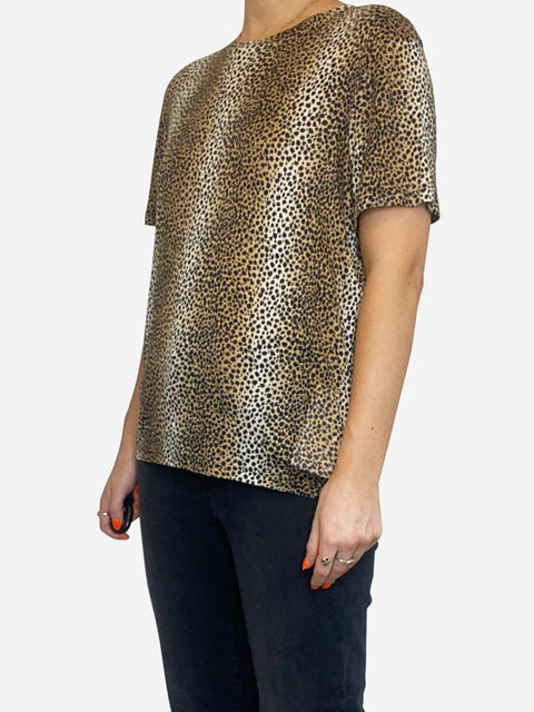 Animal print fine knit t-shirt - size L