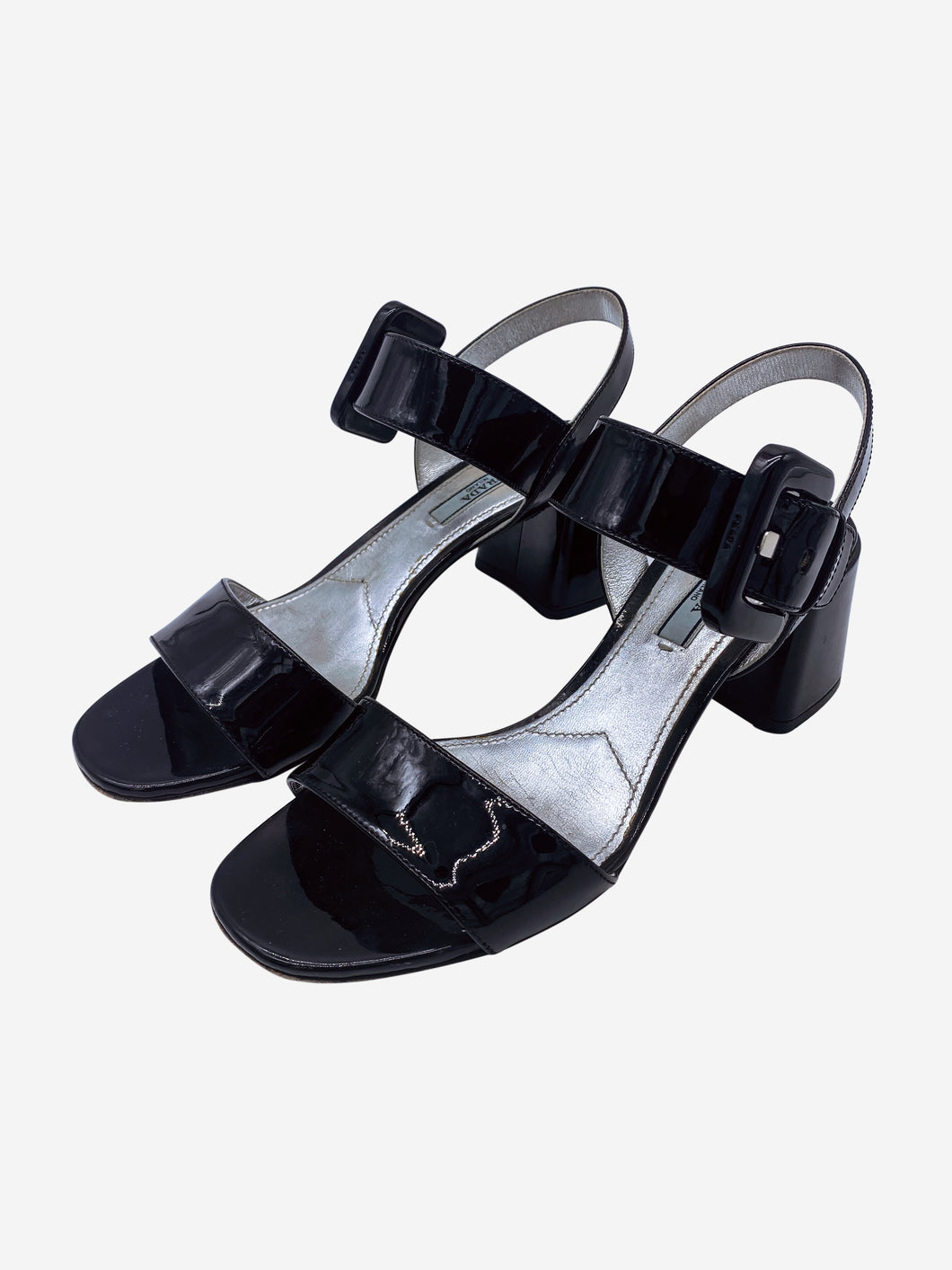 Black painted open toe block heeled sandals - size EU 38.5