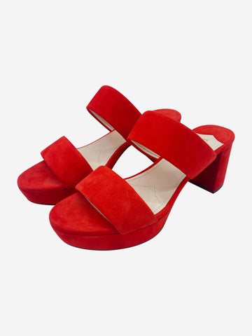 Red suede platform block heeled sandals - size EU 39