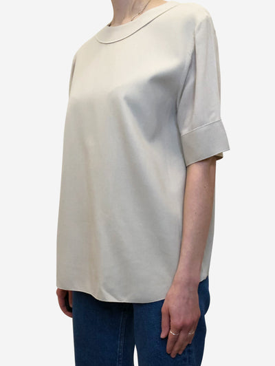 Beige boxy top with raw edge seam detail - size FR 38
