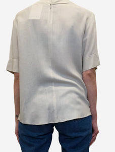 Joseph Beige boxy top with raw edge seam detail - size FR 38