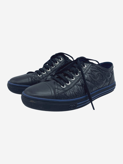 Black and navy quilted trainers with CC logo - size EU 38