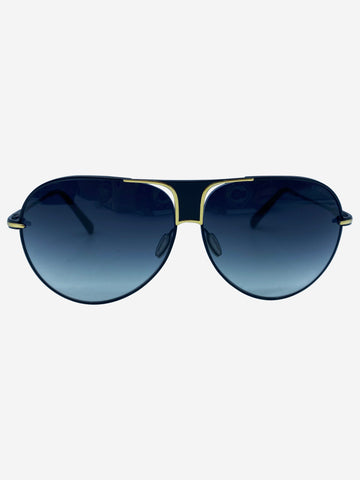 Black aviator sunglasses with gold trim