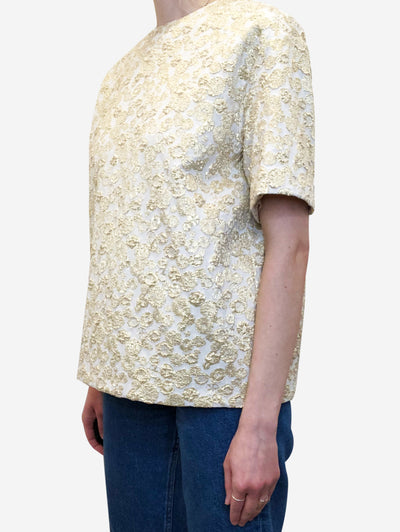 Cream & gold boxy top - size IT 42