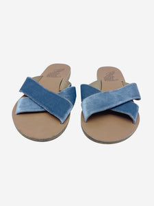 Ancient Greek Blue velvet crossover flat sandals - size EU 39