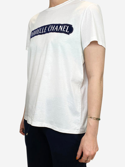 White and navy logo t-shirt - size FR 38