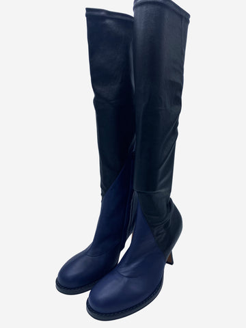 Black and navy leather patchwork high boots - size EU 39