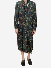 Load image into Gallery viewer, Black floral pleated midi dress with neck tie - size UK 12