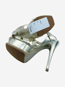 YSL Gold leather cross strap platform heels - size EU 35