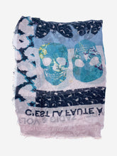 Load image into Gallery viewer, Pale pink & blue print frayed edge scarf