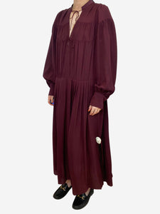 Burgundy gathered silk midi dress - size M