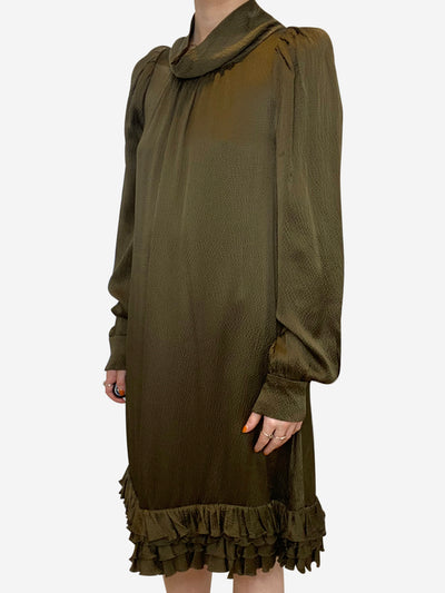 khaki long sleeved midi dress  - size 10