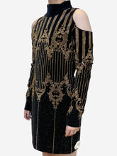 Load image into Gallery viewer, Black and gold cold shoulder studded mini dress - size FR 36