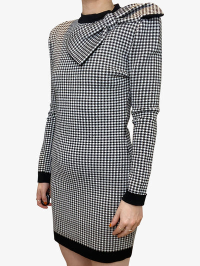 Black and white houndstooth mini dress with bow - FR 40