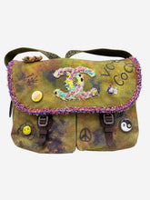 Load image into Gallery viewer, Green tie dye large crossbody satchel