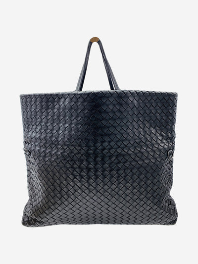 Black Intrecciato top handle tote bag