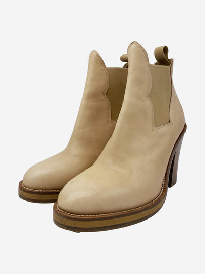 Nude heeled western style ankle boots - size EU 37