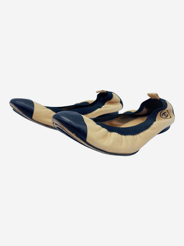 Beige and black elasticated ballerina flats - size 6.5