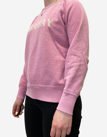 Pink rounded neck logo sweatshirt - size UK 8