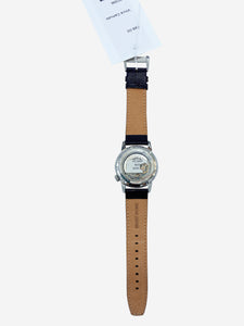 Silver and brown leather strap watch