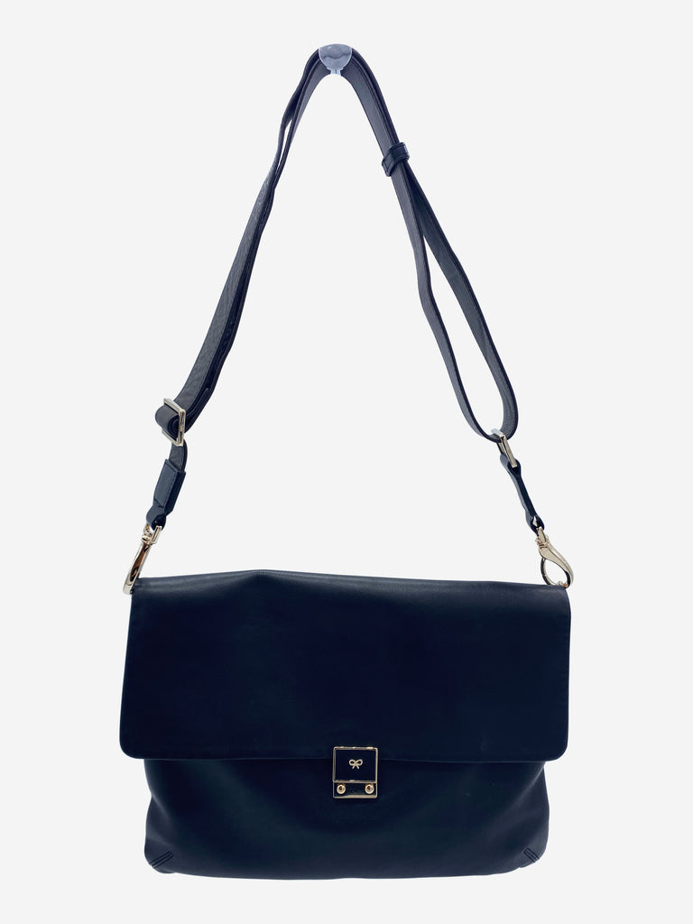 Black leather envelope cross body clutch bag