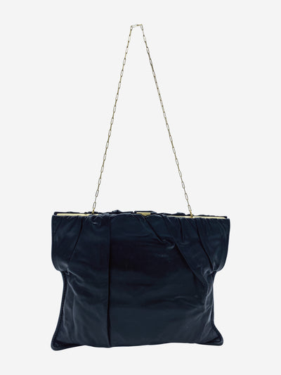 Black leather shoulder bag with gold chain and clasp